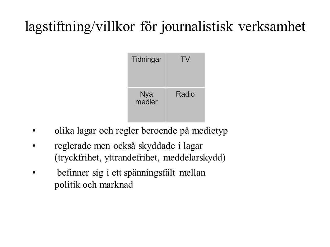 lagstiftning/villkor för journalistisk verksamhet