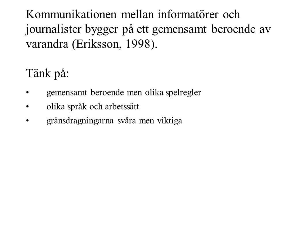 Kommunikationen mellan informatörer och journalister bygger på ett gemensamt beroende av varandra (Eriksson, 1998). Tänk på: