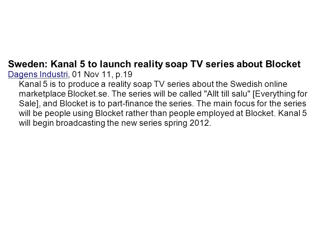 Sweden: Kanal 5 to launch reality soap TV series about Blocket