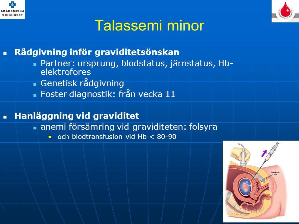 Talassemi minor Rådgivning inför graviditetsönskan
