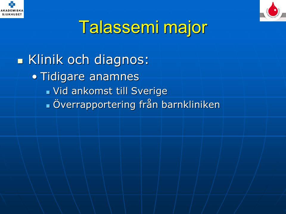 Talassemi major Klinik och diagnos: Tidigare anamnes