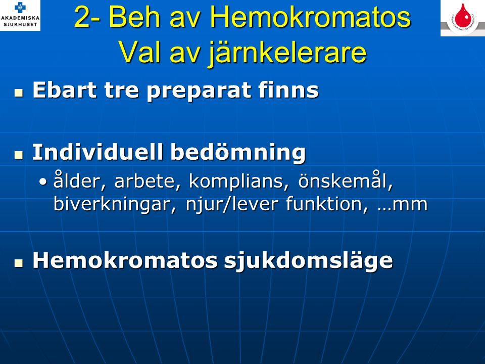 2- Beh av Hemokromatos Val av järnkelerare