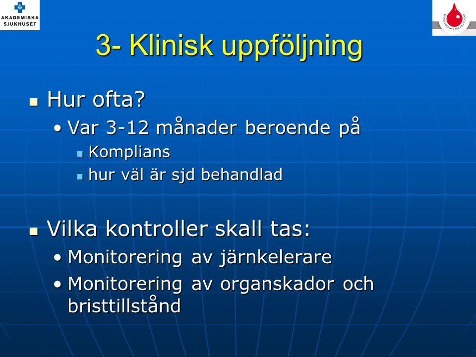 3- Klinisk uppföljning Hur ofta Vilka kontroller skall tas: