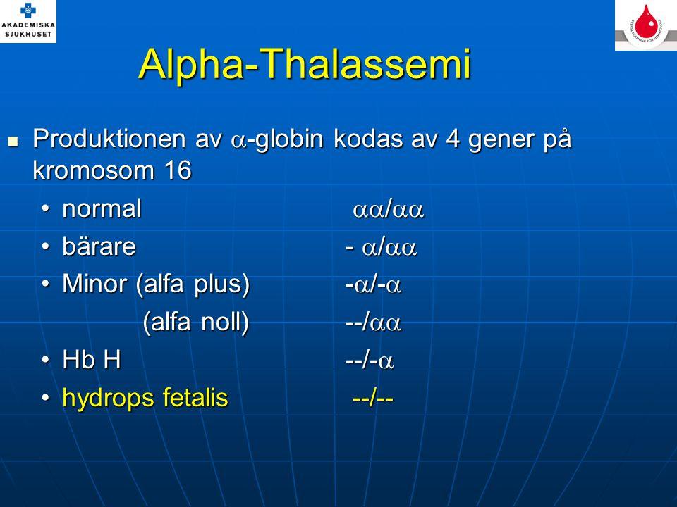 Alpha-Thalassemi Produktionen av -globin kodas av 4 gener på kromosom 16. normal / bärare - /