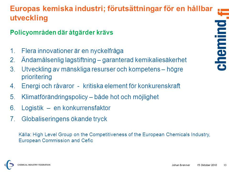 Europas kemiska industri; förutsättningar för en hållbar utveckling