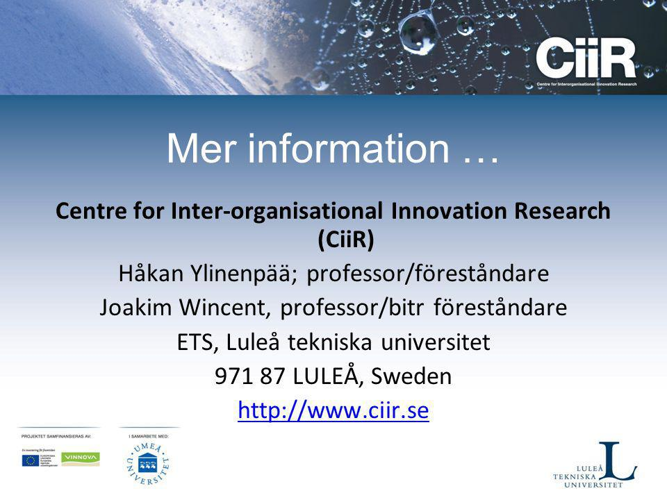 Centre for Inter-organisational Innovation Research (CiiR)