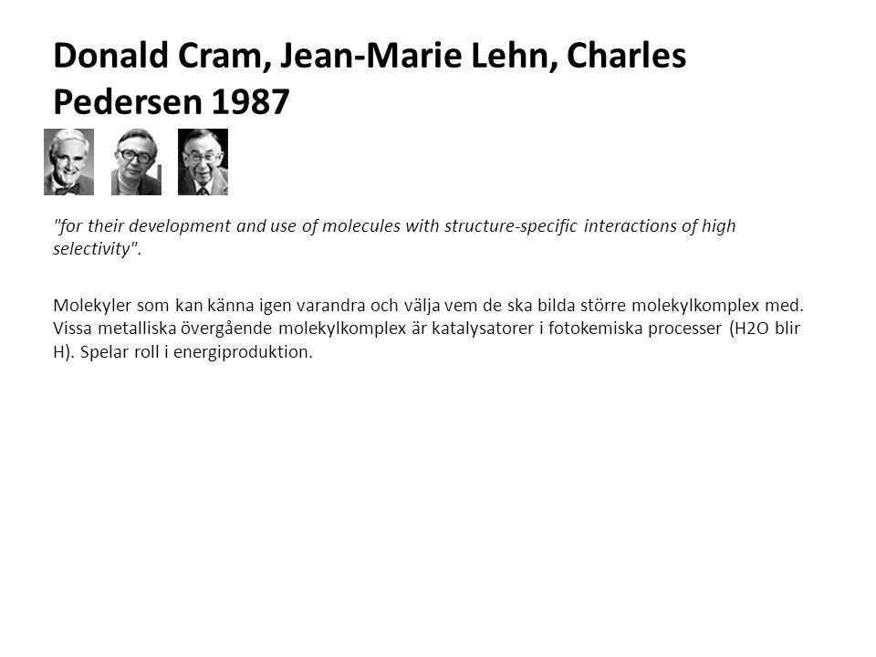 Donald Cram, Jean-Marie Lehn, Charles Pedersen 1987