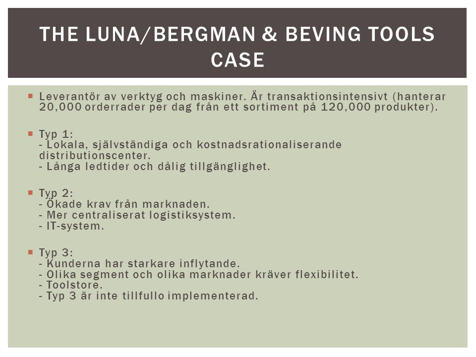 The luna/bergman & Beving Tools case