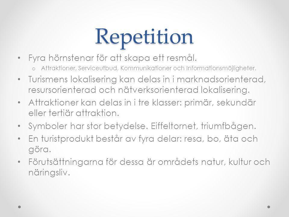 Repetition Fyra hörnstenar för att skapa ett resmål.