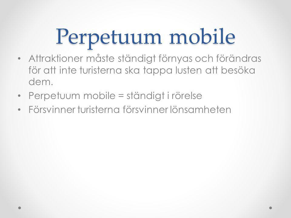 Perpetuum mobile Attraktioner måste ständigt förnyas och förändras för att inte turisterna ska tappa lusten att besöka dem.