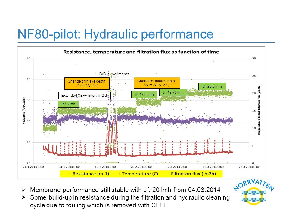 NF80-pilot: Hydraulic performance