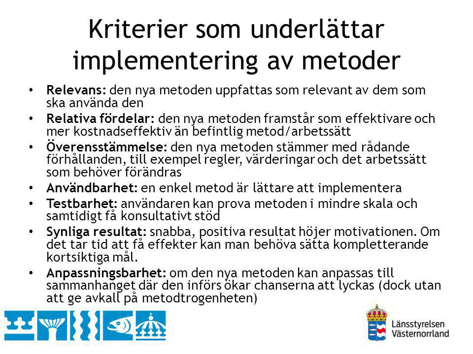 Kriterier som underlättar implementering av metoder
