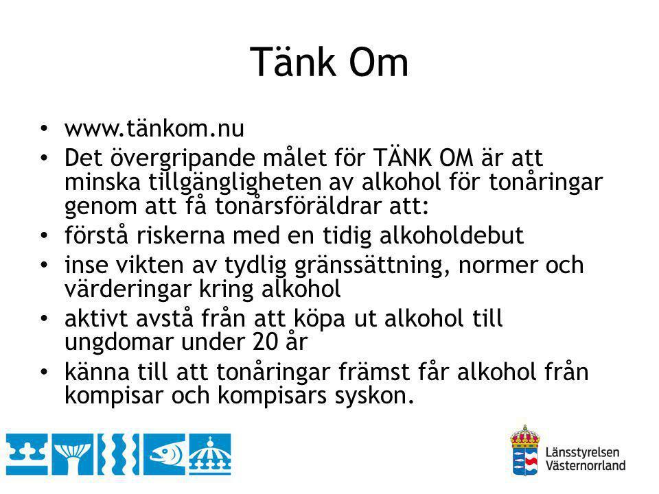 Tänk Om www.tänkom.nu. Det övergripande målet för TÄNK OM är att minska tillgängligheten av alkohol för tonåringar genom att få tonårsföräldrar att: