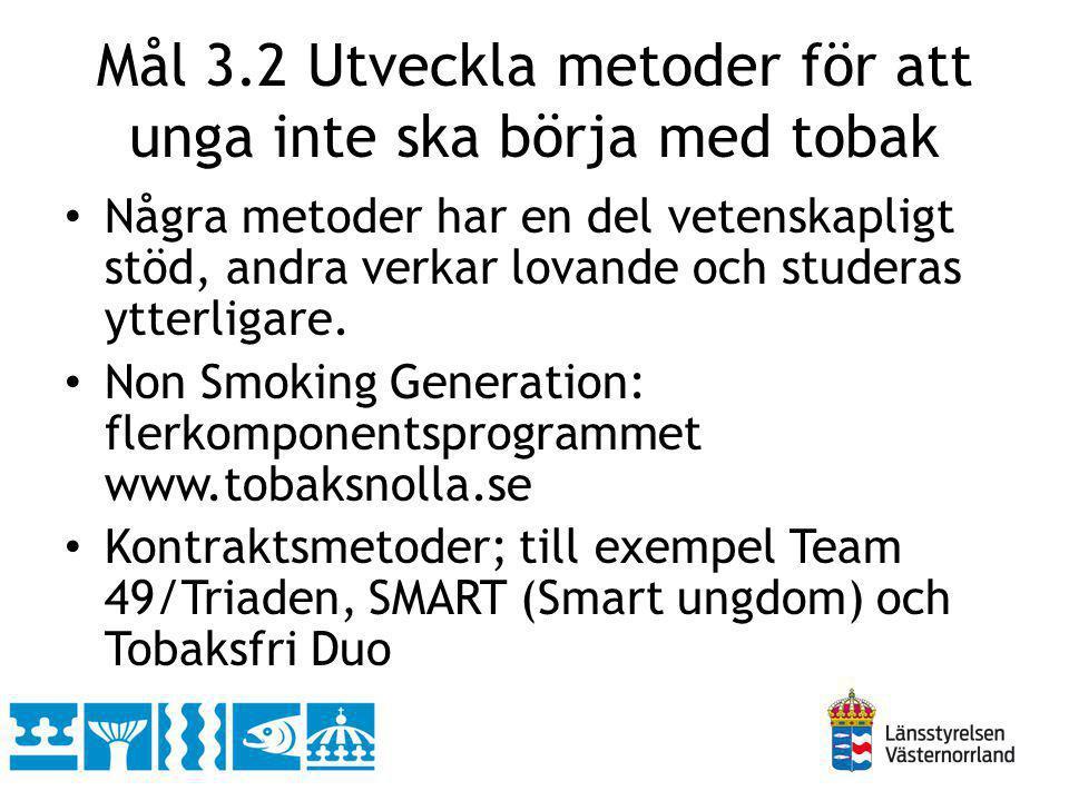 Mål 3.2 Utveckla metoder för att unga inte ska börja med tobak