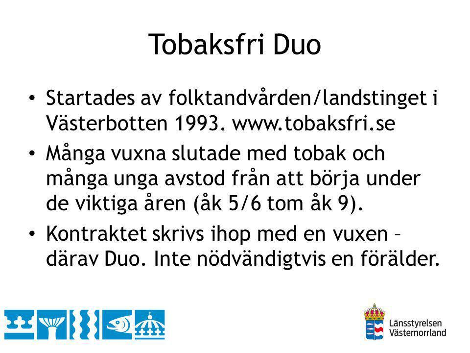 Tobaksfri Duo Startades av folktandvården/landstinget i Västerbotten 1993. www.tobaksfri.se.