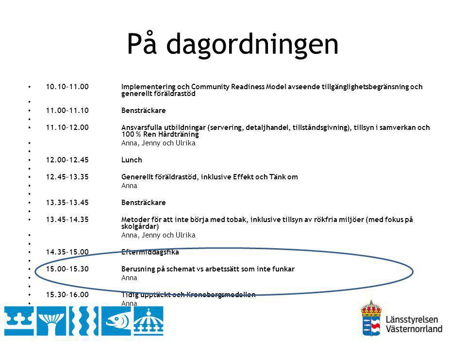 På dagordningen 10.10–11.00 Implementering och Community Readiness Model avseende tillgänglighetsbegränsning och generellt föräldrastöd.