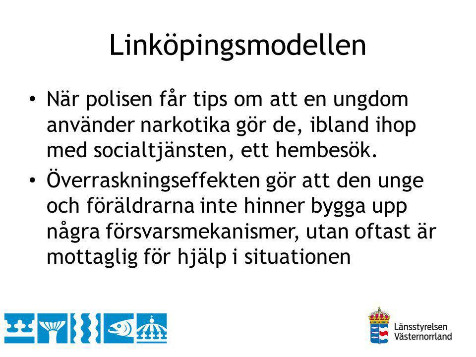 Linköpingsmodellen När polisen får tips om att en ungdom använder narkotika gör de, ibland ihop med socialtjänsten, ett hembesök.