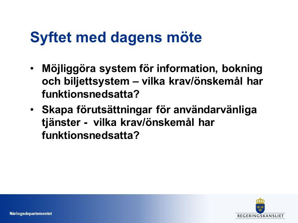 Syftet med dagens möte Möjliggöra system för information, bokning och biljettsystem – vilka krav/önskemål har funktionsnedsatta