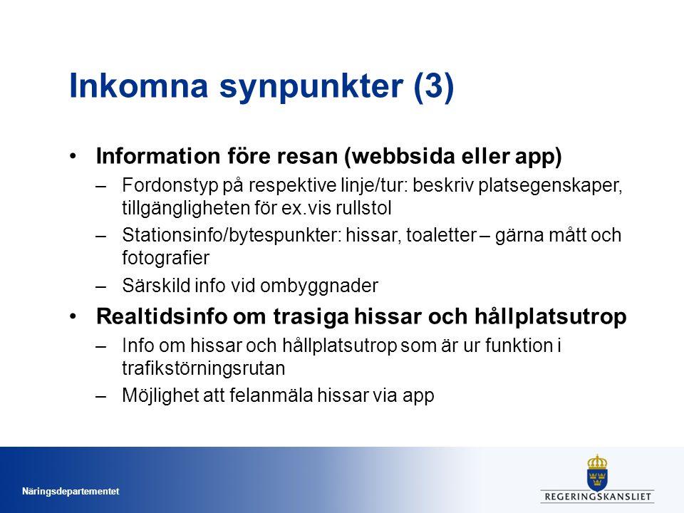 Inkomna synpunkter (3) Information före resan (webbsida eller app)