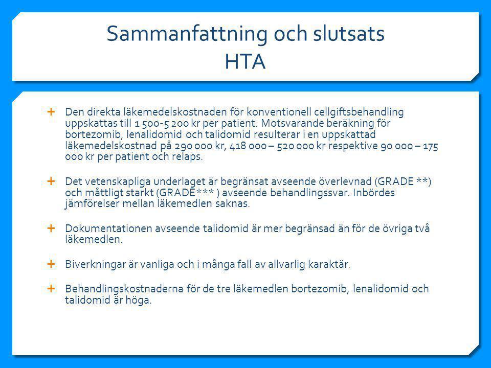 Sammanfattning och slutsats HTA
