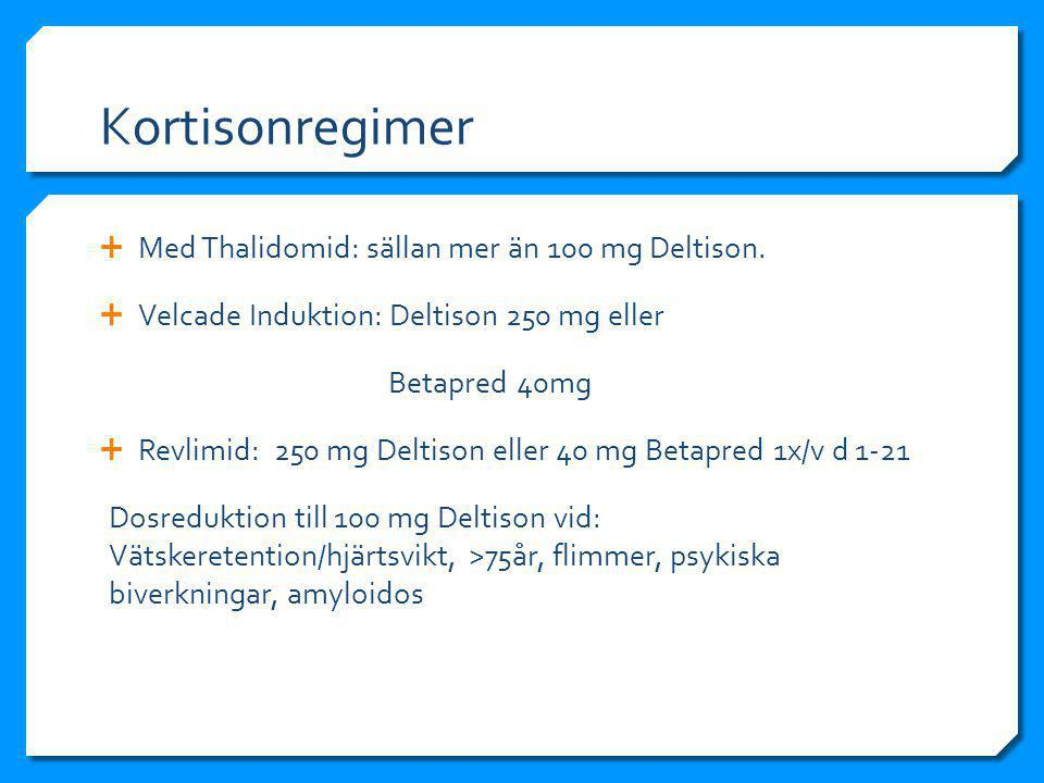 Kortisonregimer Med Thalidomid: sällan mer än 100 mg Deltison.