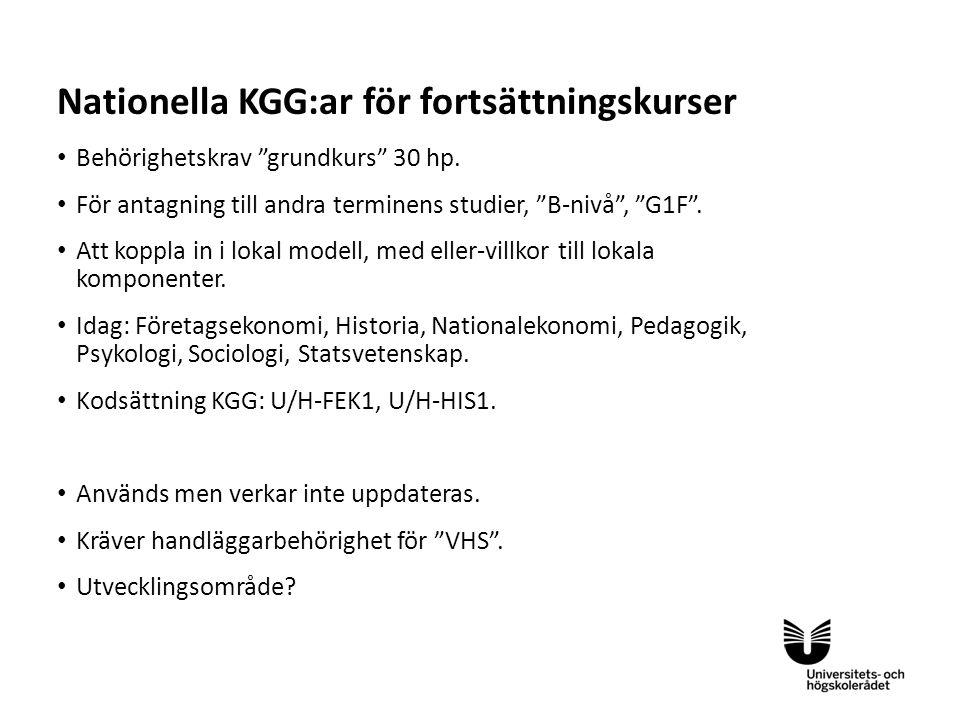 Nationella KGG:ar för fortsättningskurser
