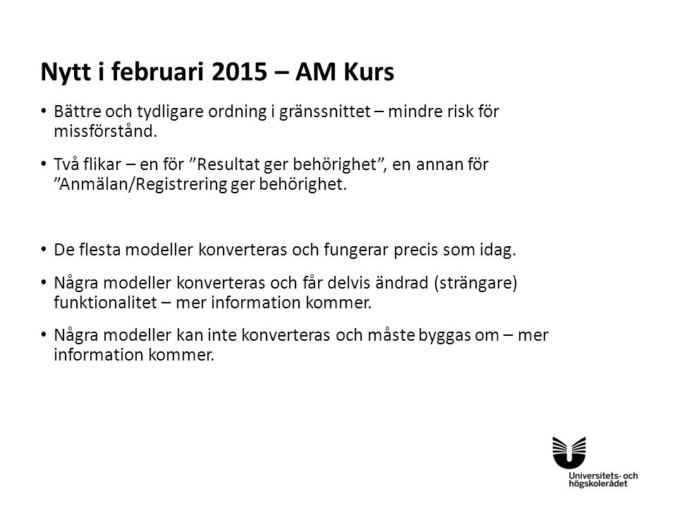 Nytt i februari 2015 – AM Kurs