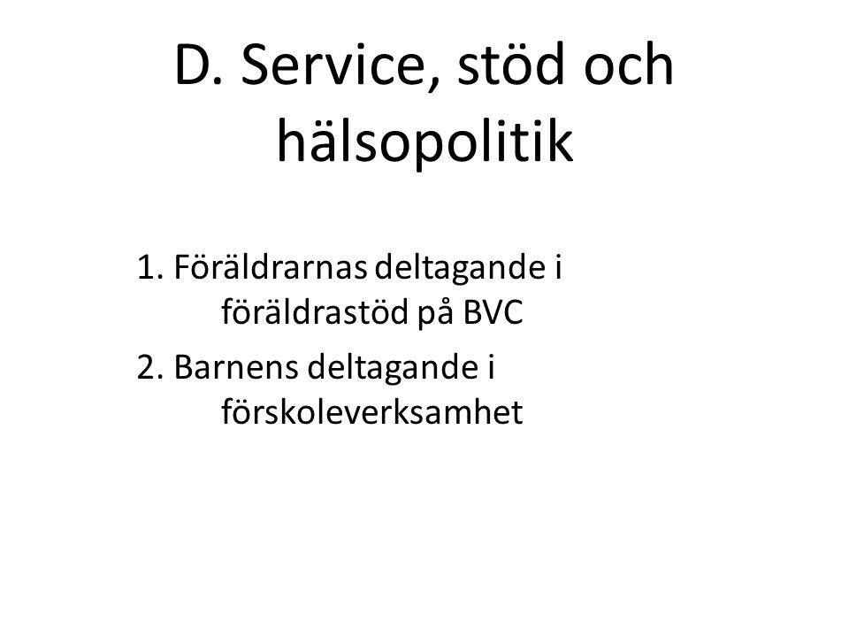 D. Service, stöd och hälsopolitik