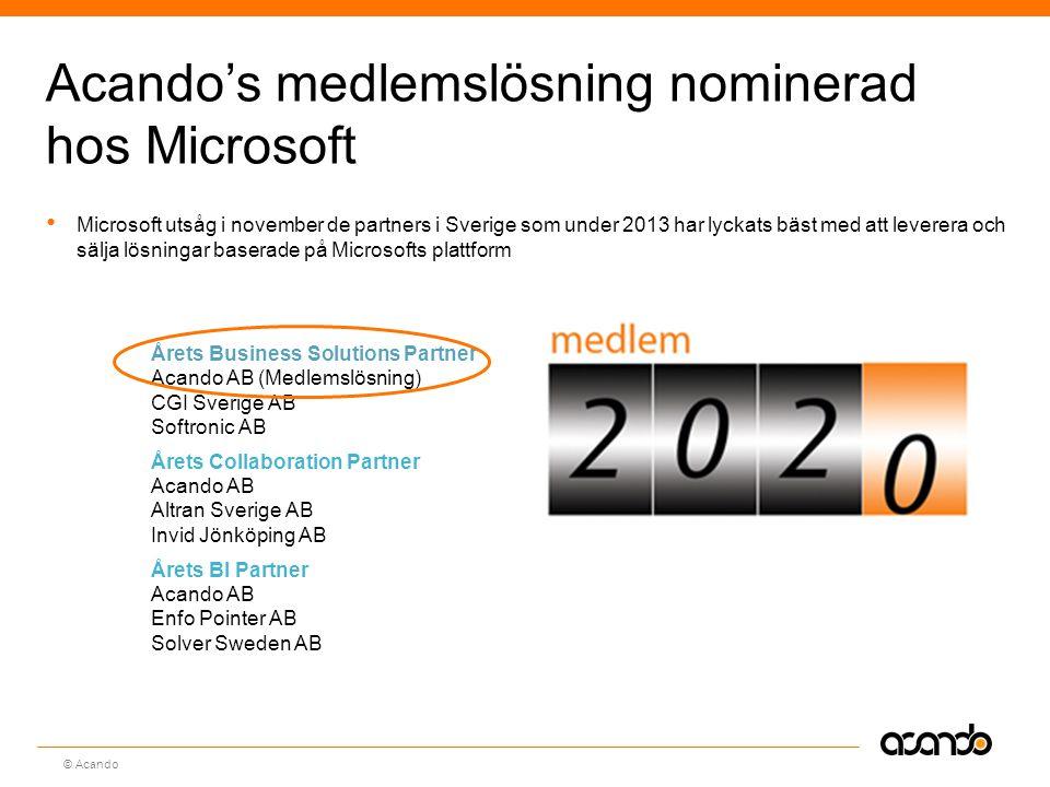 Acando's medlemslösning nominerad hos Microsoft