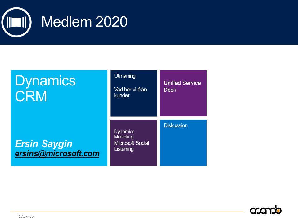 Medlem 2020 Dynamics CRM Ersin Saygin ersins@microsoft.com Utmaning