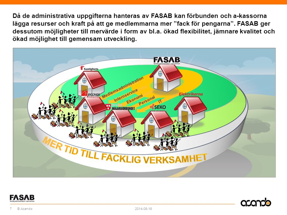 Då de administrativa uppgifterna hanteras av FASAB kan förbunden och a-kassorna lägga resurser och kraft på att ge medlemmarna mer fack för pengarna . FASAB ger dessutom möjligheter till mervärde i form av bl.a. ökad flexibilitet, jämnare kvalitet och ökad möjlighet till gemensam utveckling.