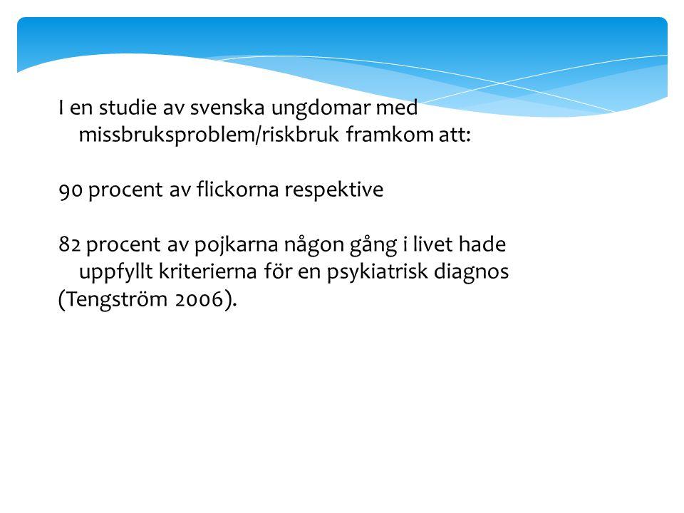 I en studie av svenska ungdomar med missbruksproblem/riskbruk framkom att: