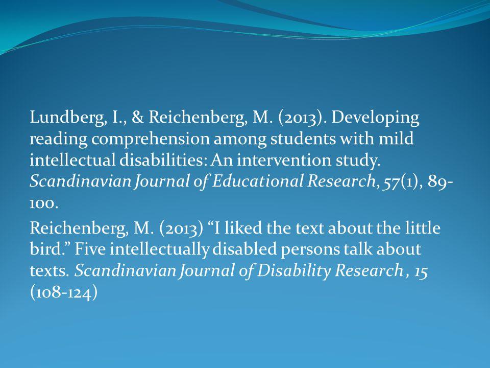 Lundberg, I. , & Reichenberg, M. (2013)