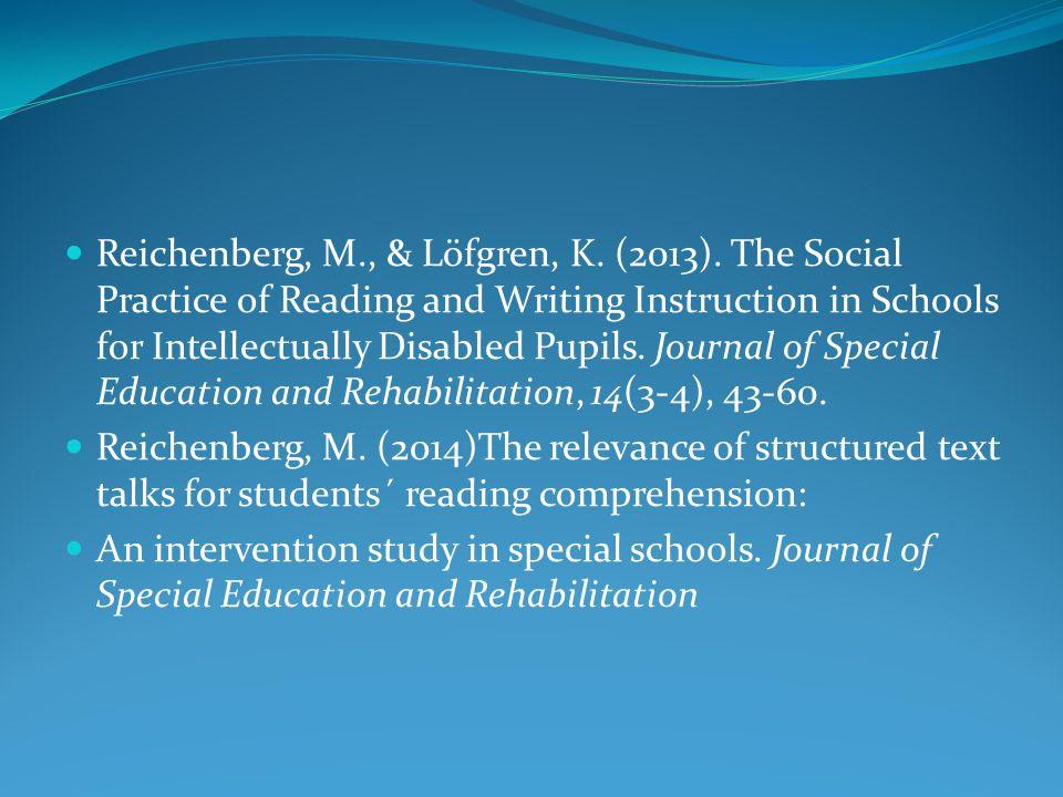 Reichenberg, M. , & Löfgren, K. (2013)