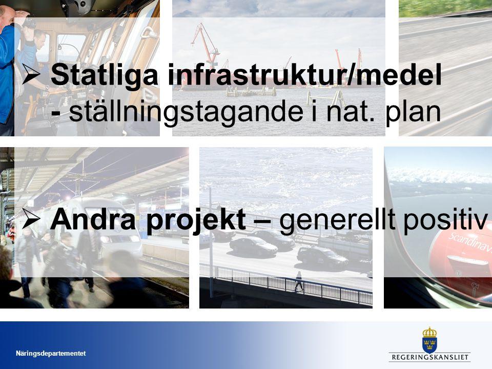Statliga infrastruktur/medel - ställningstagande i nat. plan