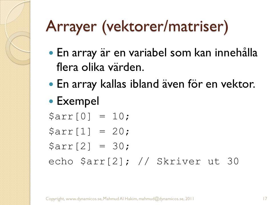 Arrayer (vektorer/matriser)