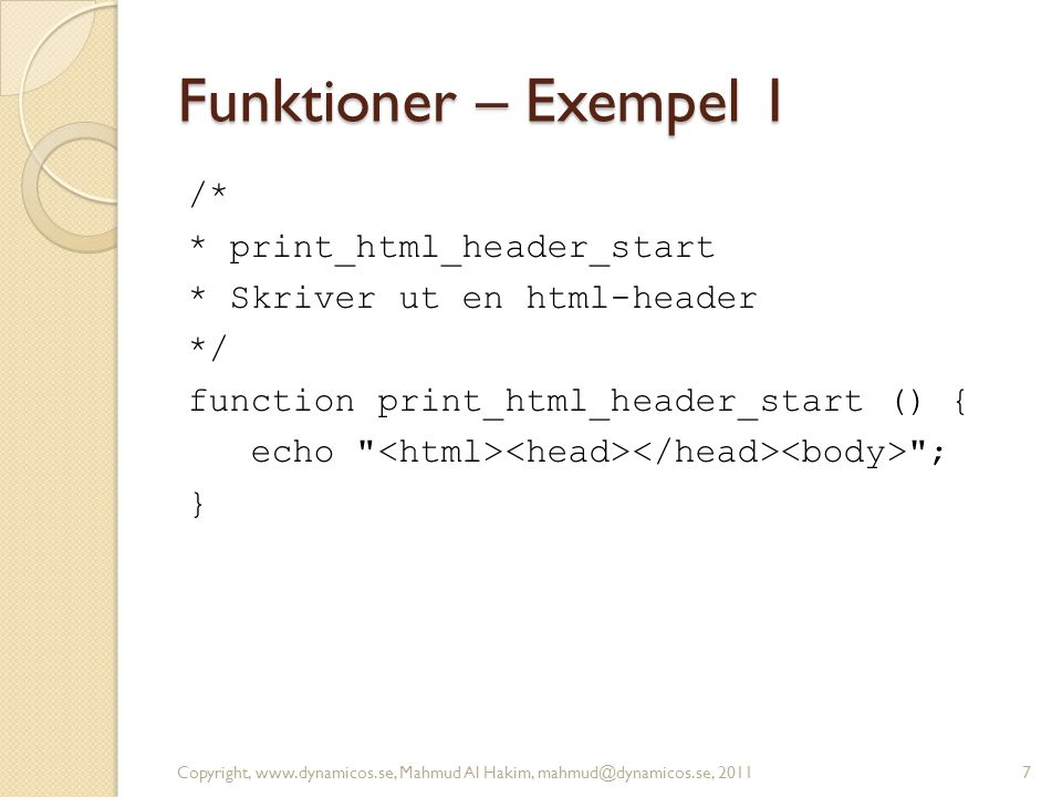 Funktioner – Exempel 1