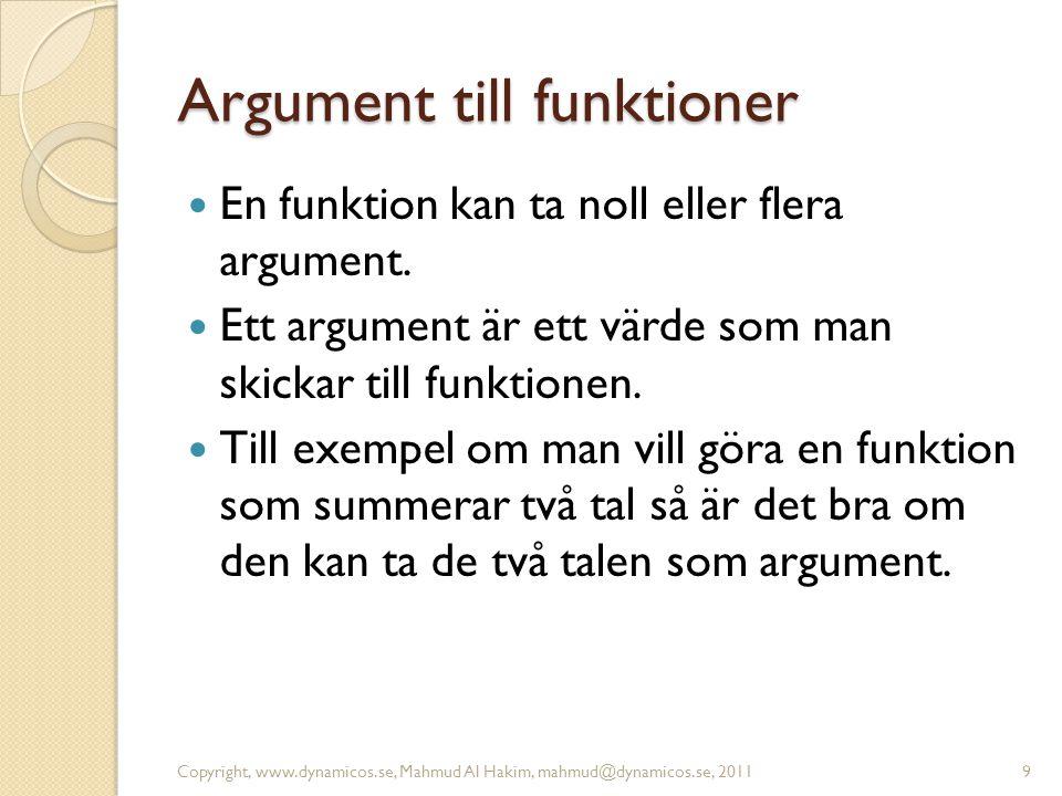 Argument till funktioner