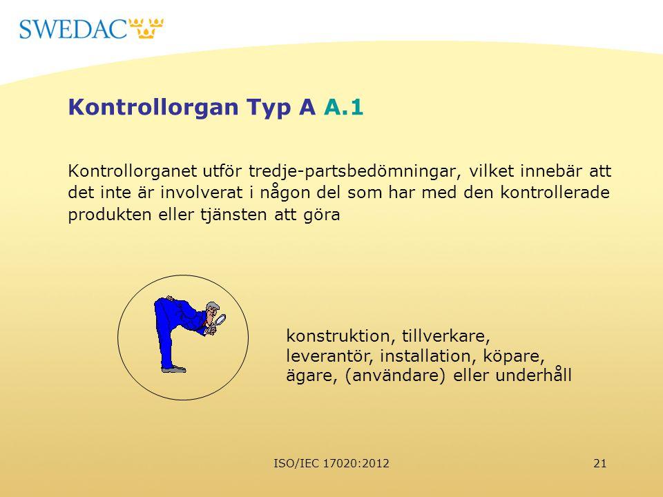 Kontrollorgan Typ A A.1 Kontrollorganet utför tredje-partsbedömningar, vilket innebär att.