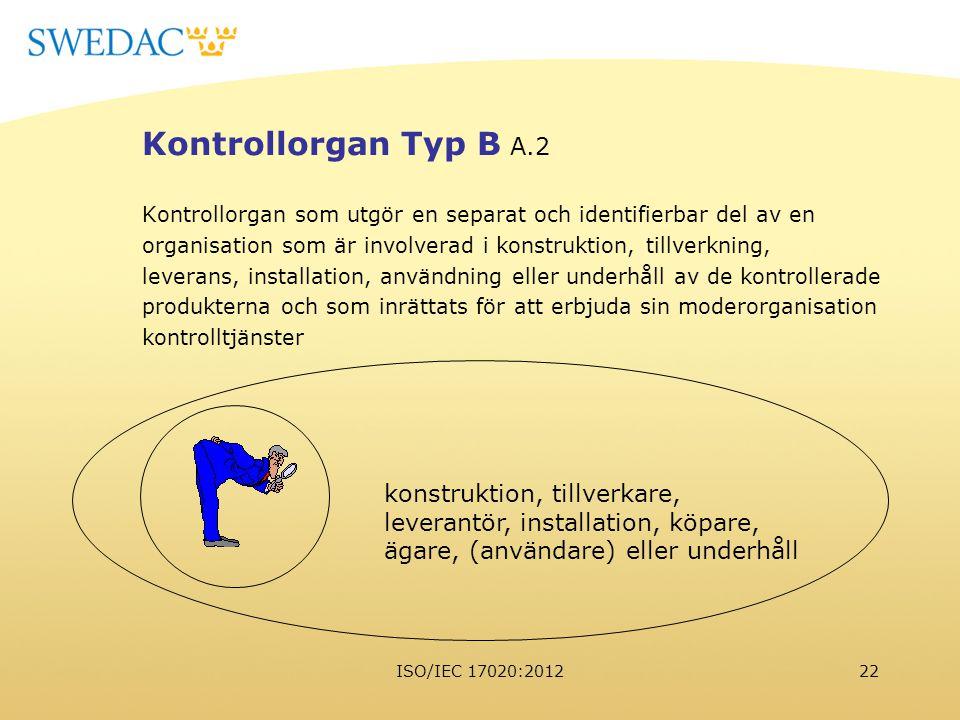 Kontrollorgan Typ B A.2 konstruktion, tillverkare,