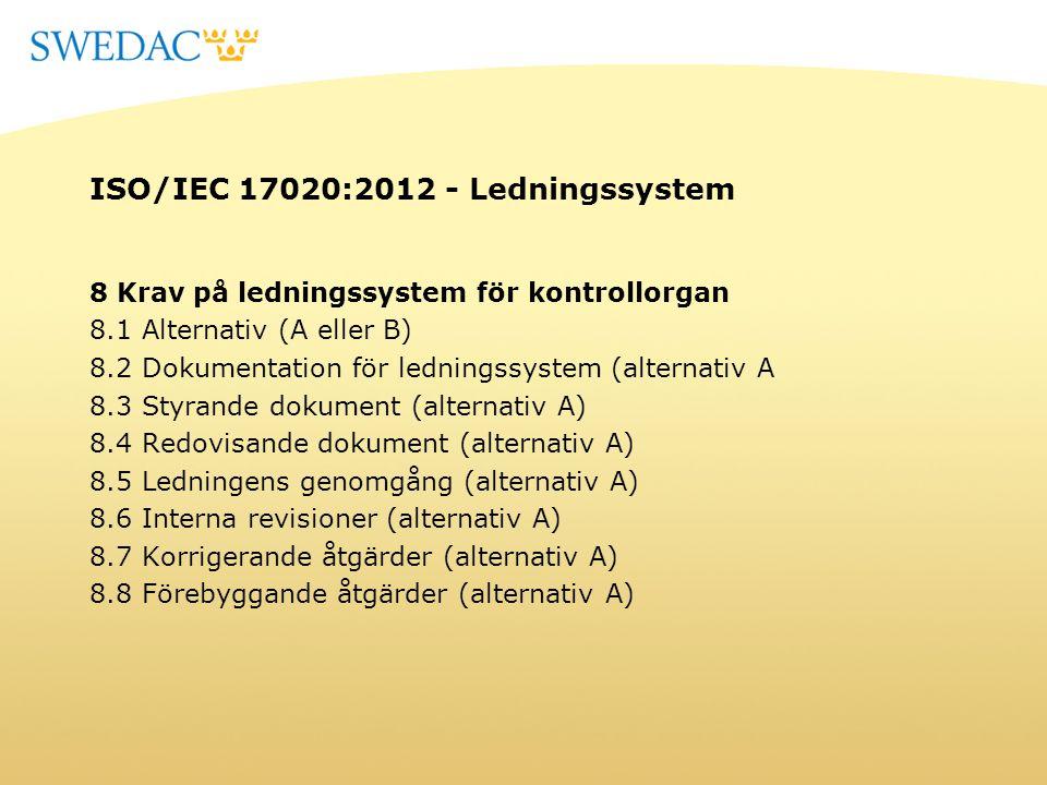 ISO/IEC 17020:2012 - Ledningssystem