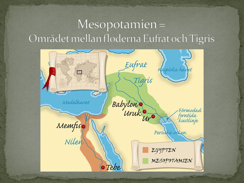 Mesopotamien = Området mellan floderna Eufrat och Tigris