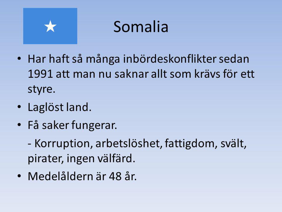 Somalia Har haft så många inbördeskonflikter sedan 1991 att man nu saknar allt som krävs för ett styre.