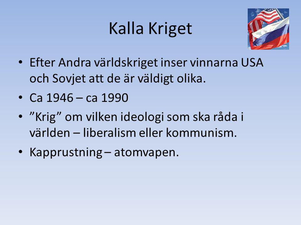 Kalla Kriget Efter Andra världskriget inser vinnarna USA och Sovjet att de är väldigt olika. Ca 1946 – ca 1990.