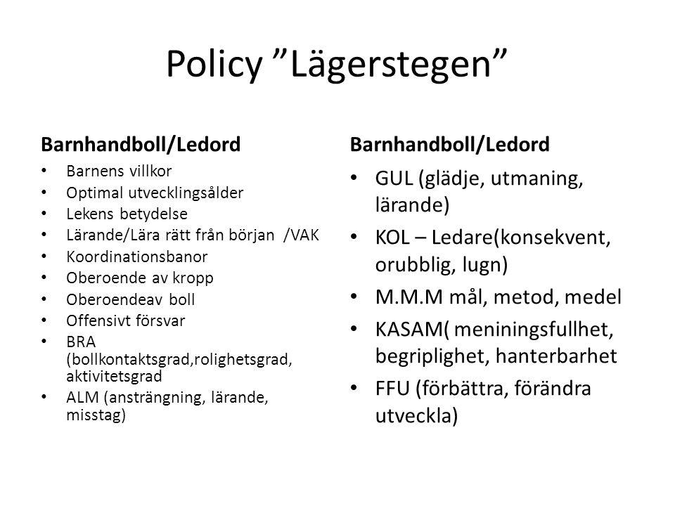 Policy Lägerstegen Barnhandboll/Ledord Barnhandboll/Ledord