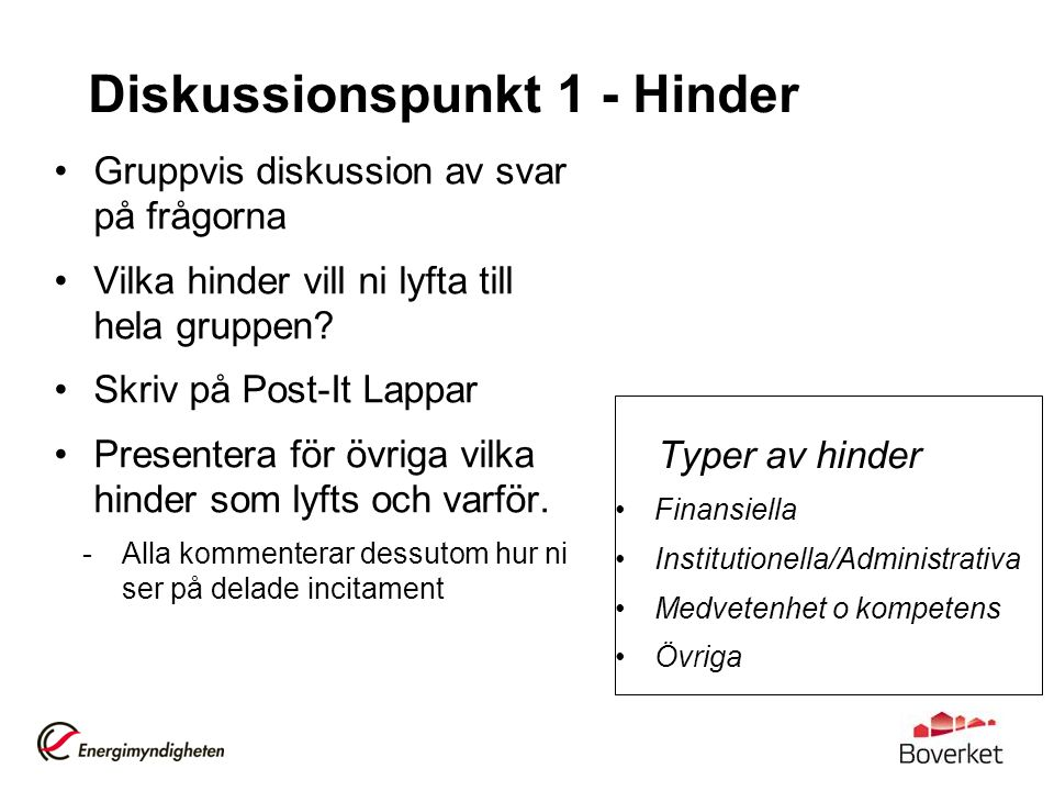 Diskussionspunkt 1 - Hinder