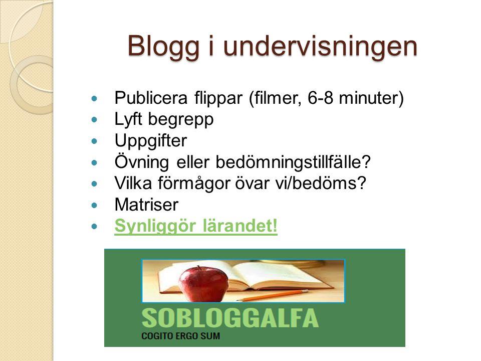 Blogg i undervisningen