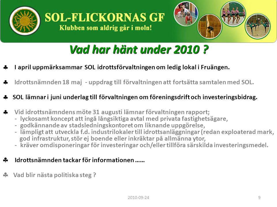 Vad har hänt under 2010  I april uppmärksammar SOL idrottsförvaltningen om ledig lokal i Fruängen.