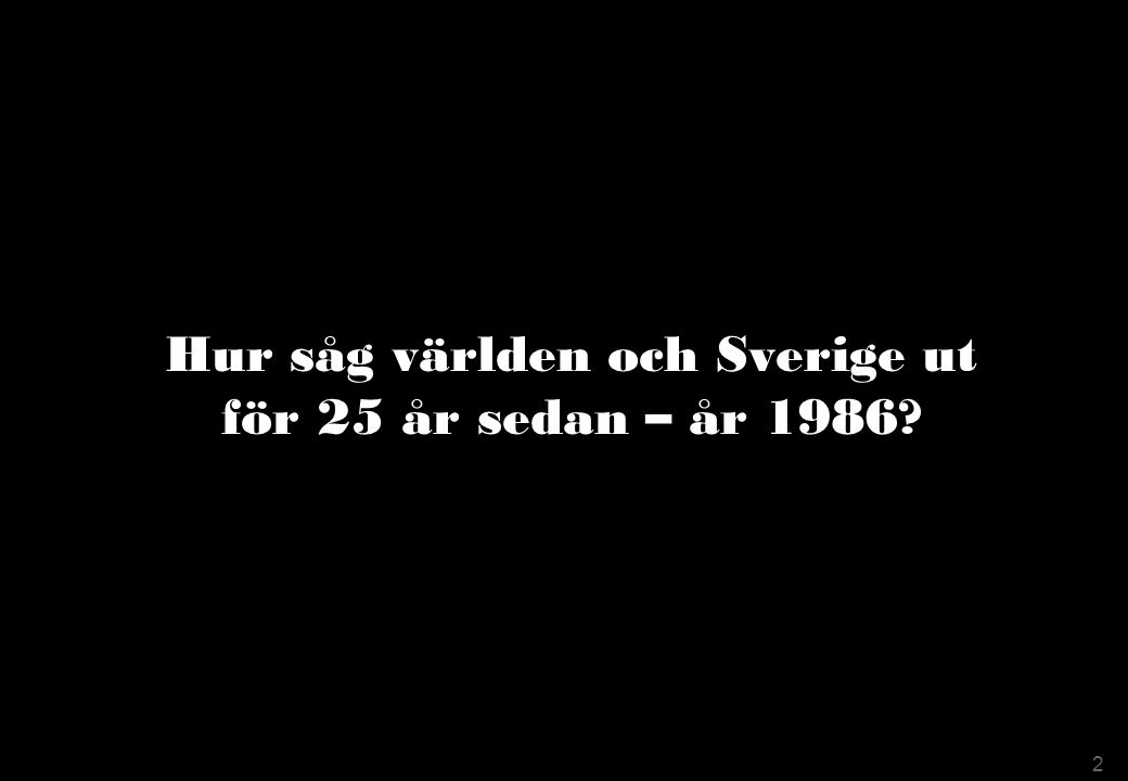 Hur såg världen och Sverige ut för 25 år sedan – år 1986