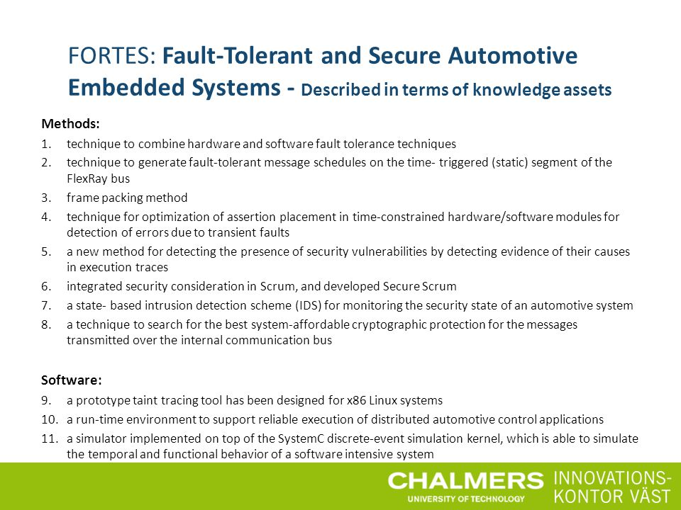 FORTES: Fault-Tolerant and Secure Automotive Embedded Systems - Described in terms of knowledge assets